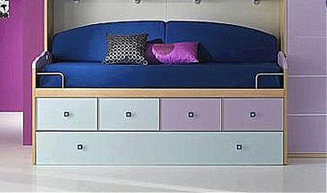 Παιδικό κρεβάτι καναπές  Spar Arreda Evolution-Surf Divano con 4cassetti con cassettone