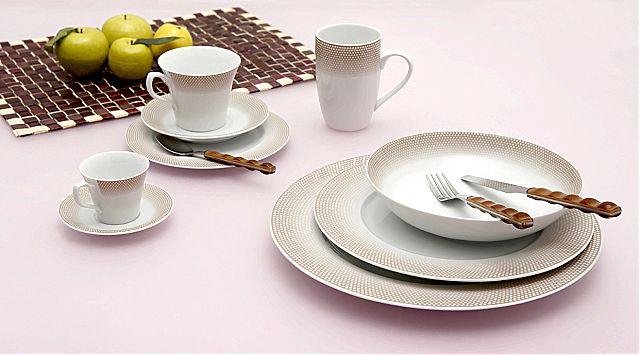 Σερβίτσιο πιάτων-φαγητού Cryspo Trio Bonito-Bonito καφέ