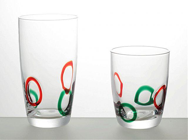 Σερβίτσιο ποτηριών Cryspo Trio Joy-Red Green