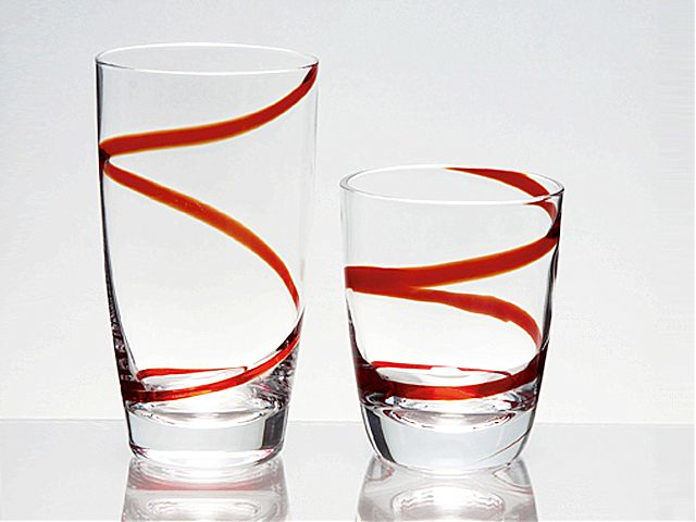 Σερβίτσιο ποτηριών Cryspo Trio Spiral-Red