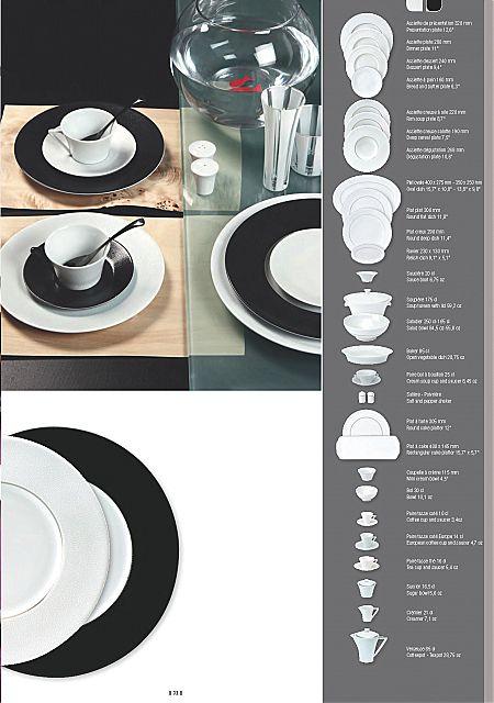 Σερβίτσιο πιάτων-φαγητού Phillipe Deshoulieres Seychelles Noir Blanc et Blanc Platine-Seychelles Noir Blanc et Blanc Platine