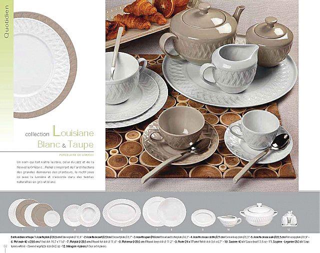Σερβίτσιο πιάτων-φαγητού Phillipe Deshoulieres Louisiane Blanc & Taupe-Louisiane Blanc & Taupe