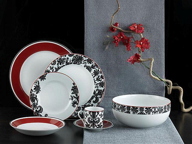 Σερβίτσιο πιάτων-φαγητού SP Tableware Damask-Damask red