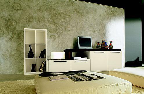 Συνθέση τοίχου σαλονιού White Break Giorno day-Composizione 37 laccata panna e rovere moro