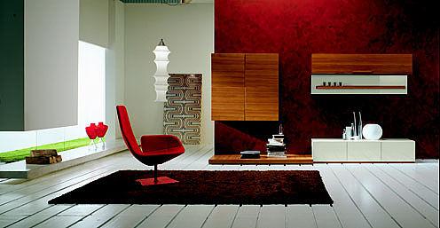 Συνθέση τοίχου σαλονιού DallAgnese BreaK Giorno Day-Composizione 3,teak,laccato cioccolato e bianco