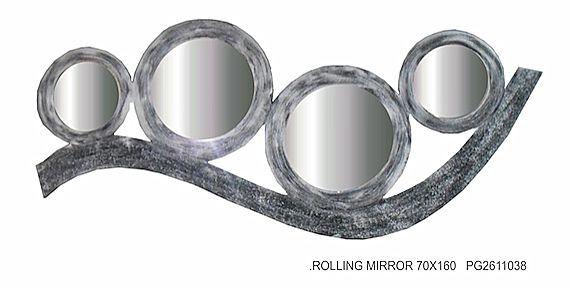 Καθρέφτης Gallerista by Repanis Silver Rolling Mirror-Silver Rolling Mirror