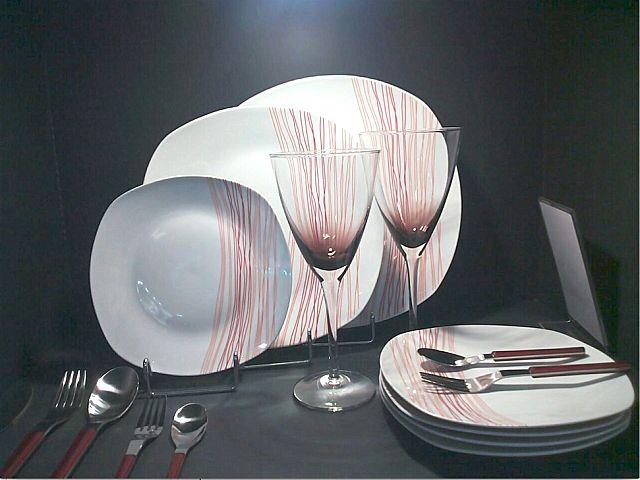 Σερβίτσιο πιάτων-φαγητού Κεσίσογλου Stripes-Red