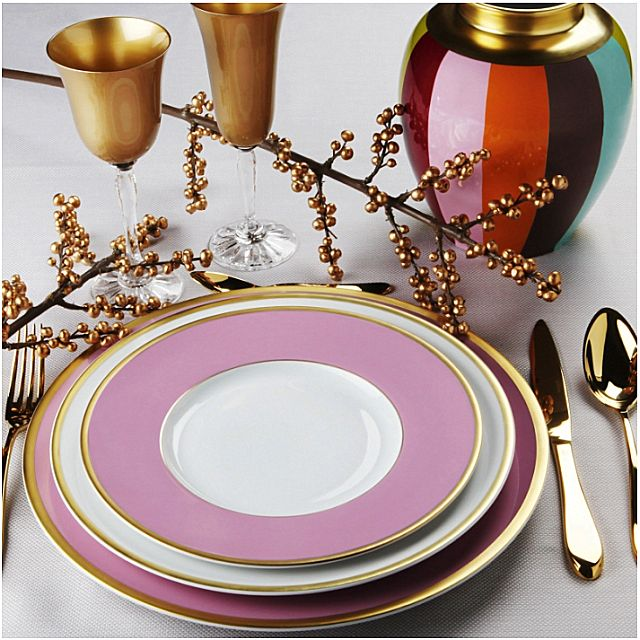 Σερβίτσιο πιάτων-φαγητού Phillipe Deshoulieres Les Indiennes Couleur Bord Or & Platine-Les Indiennes Couleur Bord Or & Platine