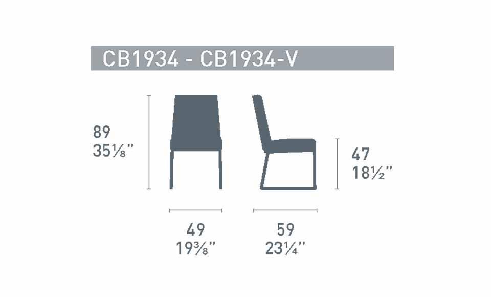 Διαστάσεις της καρέκλας HexaCB1934της εταιρείας Connubia Calligaris