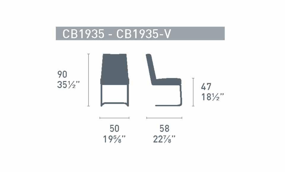 Διαστάσεις της καρέκλας Hexa CB1935-V της εταιρείας Connubia Calligaris