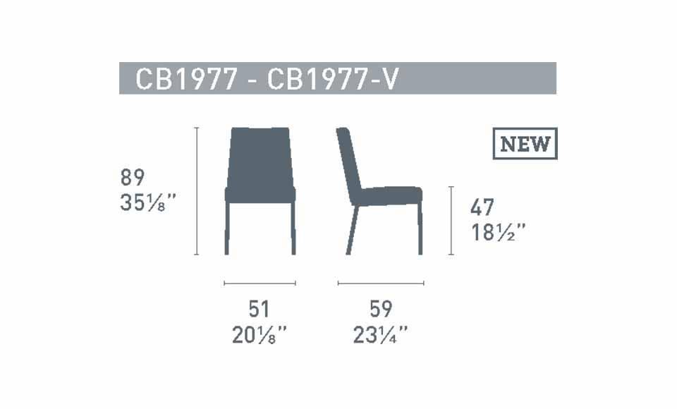 Διαστάσεις της καρέκλας Hexa CB1977 της εταιρείας Connubia Calligaris