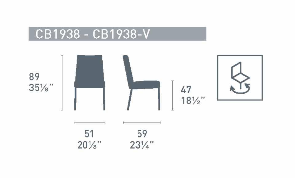 Διαστάσεις της καρέκλαςHexa CB1938-Vτης εταιρείας Connubia Calligaris