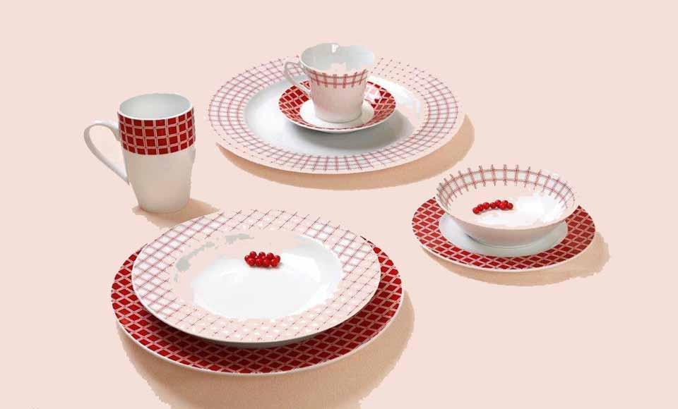 Σερβίτσιο πιάτων-φαγητού Cryspo Trio Rubik-Rubik Red