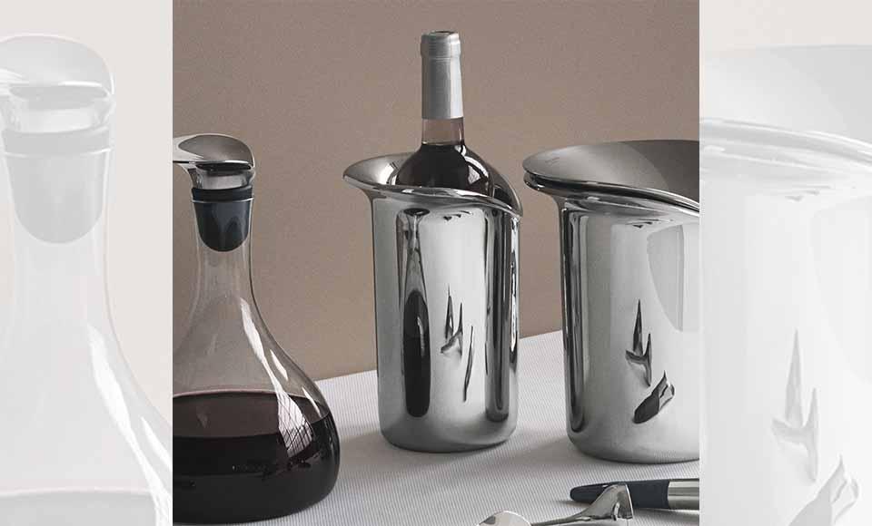 Δοχείο ψύξης κρασιούWine & Bar κατασκευασμένο από ανοξείδωτο ατσάλι σε γυαλιστερό καθρέφτη,κλασικό και διαχρονικότης εταιρείας Georg Jensen